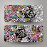 Cartoon vector doodles baby boom banners Royalty Free Stock Images