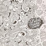 Cartoon vector doodles baby boom frame Stock Photo