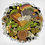 Cartoon vector doodles Beer fest illustration Royalty Free Stock Image