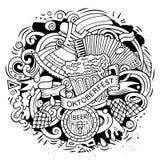 Cartoon vector doodles Beer fest illustration Royalty Free Stock Photos