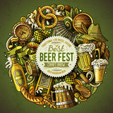Cartoon vector doodles Beer fest illustration. Colorful, detailed, with lots of objects background. All objects separate. Bright colors Oktoberfest funny round stock illustration