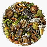 Cartoon vector doodles Beer fest illustration Royalty Free Stock Images