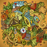 Cartoon vector doodles camping background Royalty Free Stock Photo