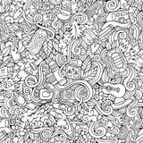 Cartoon vector doodles camping seamless pattern Stock Photography