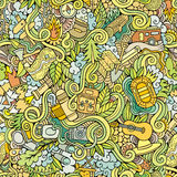Cartoon vector doodles camping seamless pattern Stock Photo