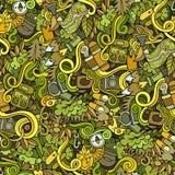 Cartoon vector doodles camping seamless pattern Royalty Free Stock Image