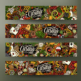 Cartoon vector doodles casino banners Stock Photos