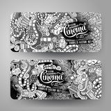 Cartoon vector doodles cinema banners. Cartoon vector hand-drawn sketchy trace Doodle on the subject of cinema. 2 Horizontal banners design templates set Stock Image