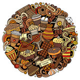 Cartoon vector doodles Coffe shop illustration Royalty Free Stock Photo