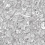 Cartoon vector doodles food seamless pattern Stock Photos