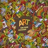 Cartoon vector doodles hand drawn art and craft Stock Photos