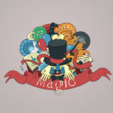 Cartoon vector doodles hand drawn magic hat with Stock Images