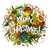 Cartoon vector doodles hand drawn Merry Christmas illustration. Royalty Free Stock Images