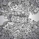 Cartoon vector doodles hand drawn school Royalty Free Stock Images