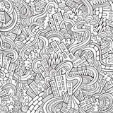 Cartoon vector doodles hand drawn town Royalty Free Stock Photo