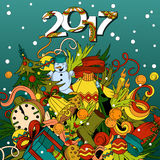 Cartoon vector doodles hand drawn 2017 year illustration. Bright colors picture with new year theme items Stock Images