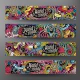 Cartoon vector doodles handmade banners. Cartoon colorful vector hand drawn doodles handmade corporate identity. 4 Horizontal banners design. Templates set Royalty Free Stock Photo