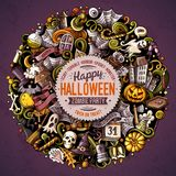 Cartoon vector doodles Happy Halloween illustration Royalty Free Stock Image