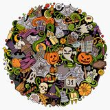 Cartoon vector doodles Happy Halloween illustration Stock Photo