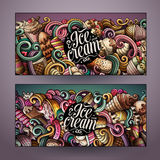 Cartoon vector doodles ice cream banners Stock Images