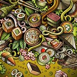 Cartoon hand-drawn doodles Japan food frame. Cartoon vector doodles Japan food frame. Colorful, detailed, with lots of objects background. All objects separate Stock Photography