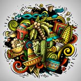 Cartoon vector doodles Latin America illustration. Colorful, detailed, with lots of objects background. All objects separate. Bright colors latinamerican funny vector illustration