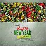 Cartoon vector doodles Merry Christmas horizontal stripe card design. Cartoon vector doodles Happy New Year horizontal stripe card design. Colorful detailed Royalty Free Stock Photo