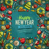 Cartoon vector doodles Merry Christmas and New Year card design. Cartoon vector doodles Merry Christmas and New Year objects frame card design. Colorful detailed Stock Image