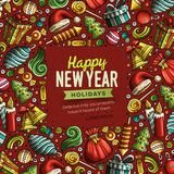 Cartoon vector doodles Merry Christmas and New Year card design. Cartoon vector doodles Merry Christmas and New Year objects frame card design. Colorful detailed Royalty Free Stock Photography