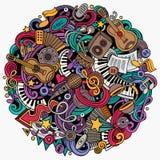 Cartoon vector doodles Music illustration Stock Images