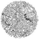 Cartoon vector doodles Music illustration Royalty Free Stock Photo