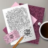 Cartoon vector doodles Nail salon corporate identity set Stock Photos