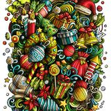 Cartoon vector doodles New Year illustration Royalty Free Stock Photography