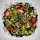 Cartoon vector doodles New Year illustration Stock Photos