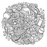 Cartoon vector doodles New Year illustration Stock Image