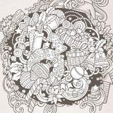 Cartoon vector doodles New Year illustration Stock Photo