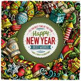Cartoon vector doodles New Year illustration Stock Images