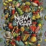 Cartoon vector doodles New Year illustration Royalty Free Stock Photo