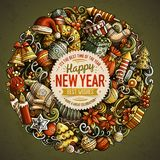 Cartoon vector doodles New Year illustration. Colorful, detailed, with lots of objects background. All objects separate. Bright colors Christmas funny round Stock Images