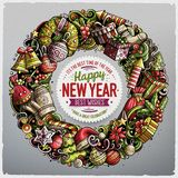 Cartoon vector doodles New Year round frame design. Colorful detailed, with lots of objects illustration. All items are separate. Bright colors holiday funny Royalty Free Stock Image