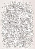 Cartoon vector doodles New Year sketch background Stock Image