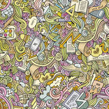 Cartoon vector doodles school seamless pattern Royalty Free Stock Photo