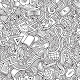 Cartoon vector doodles school seamless pattern Stock Photo