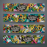 Cartoon vector doodles science banners Royalty Free Stock Image