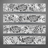 Cartoon vector doodles science banners Stock Photography
