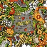 Cartoon vector doodles Soccer frame. Colorful, detailed, background. Cartoon vector doodles Soccer frame. Colorful, detailed, with lots of objects background stock illustration