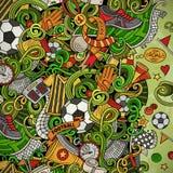 Cartoon vector doodles Soccer frame. Colorful, detailed, background. Cartoon vector doodles Soccer frame. Colorful, detailed, with lots of objects background vector illustration