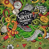 Cartoon vector doodles Soccer frame. Colorful, detailed, background. Cartoon vector doodles Soccer frame. Colorful, detailed, with lots of objects background royalty free illustration