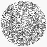 Cartoon vector doodles Space illustration Stock Photography