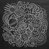 Cartoon vector doodles Space illustration Royalty Free Stock Images